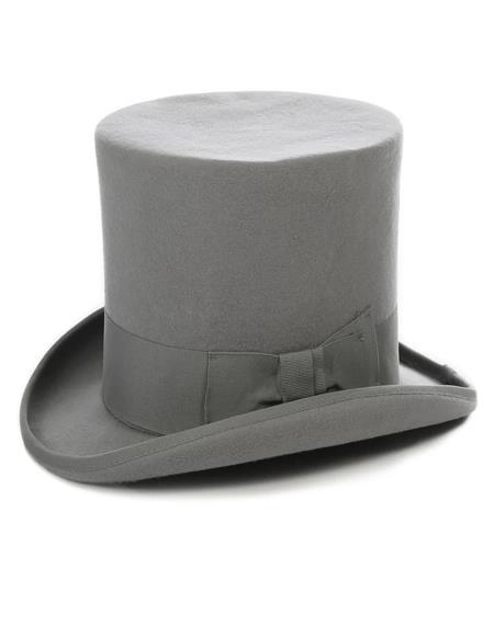 Light Grey Premium Wool Top Hat ~ Tuxedo Hat