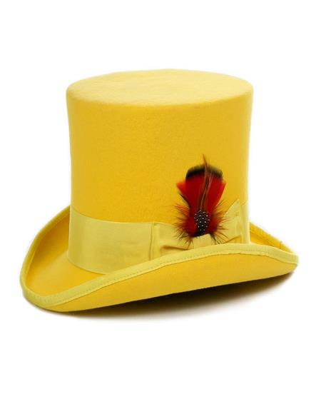 Premium Wool Yellow Top Hat ~ Tuxedo Hat