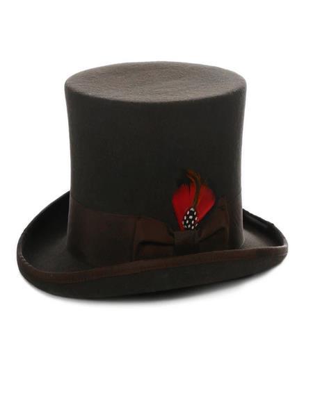 Premium Wool Brown Top Hat ~ Tuxedo Hat