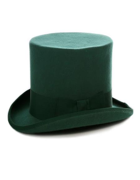 Premium Wool Hunter Green Top Hat ~ Tuxedo Hat