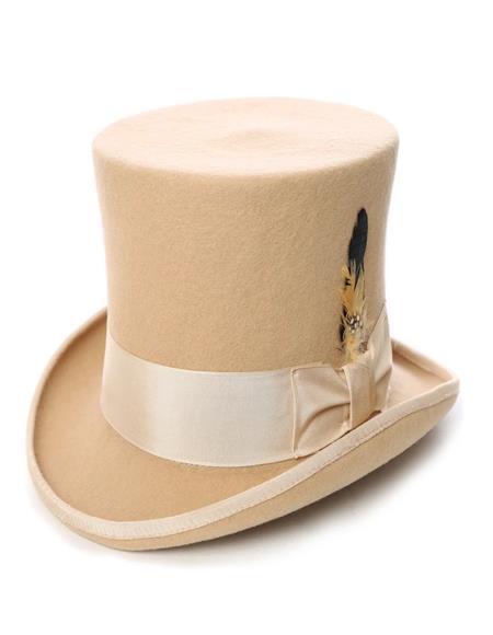 Premium Wool Beige Top Hat