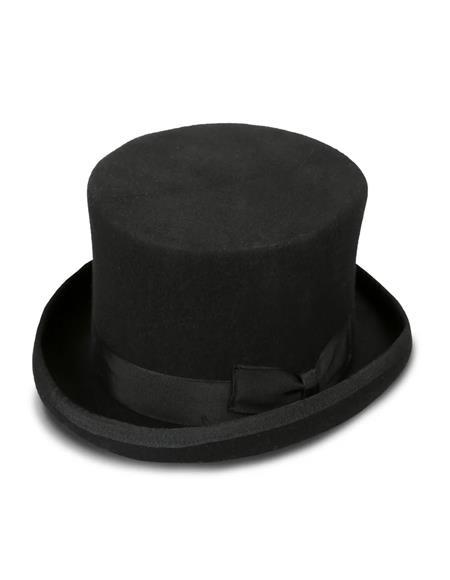 Ferrecci Men's Black Stout Top Hat ~ Tuxedo Hat