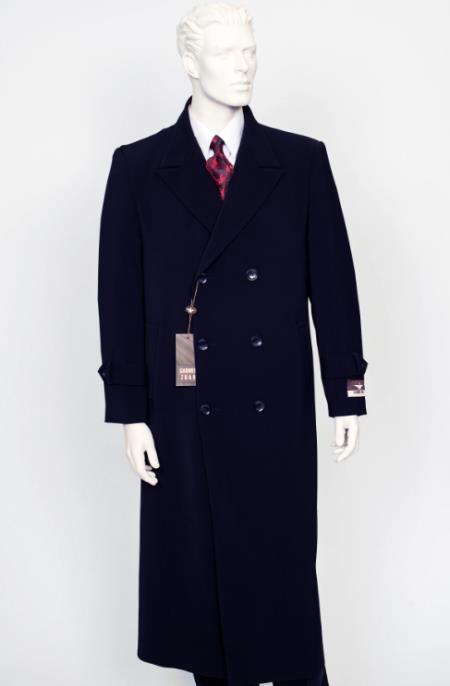 Men's Navy Peak Lapel  Full Length Coat Duster Maxi Coat