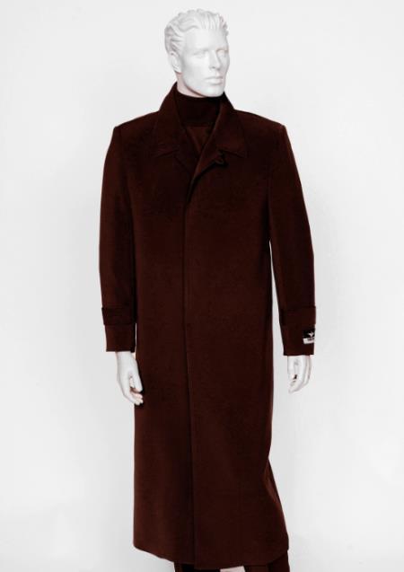 Men's Burgundy 4 Buttons  Full Length All Weather Coat Duster Maxi Coat