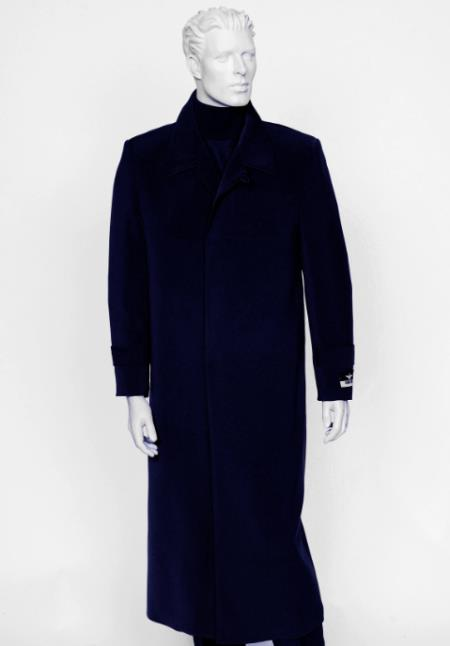 Mens Navy 4 Buttons Notch Lapel Full Length All Weather Coat Duster Maxi Coat