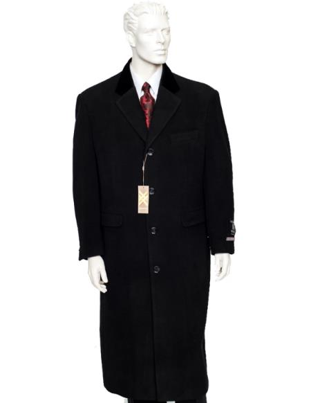 Mens Black  Single Breasted Notch Lapel Full Length Coat Duster Maxi Coat