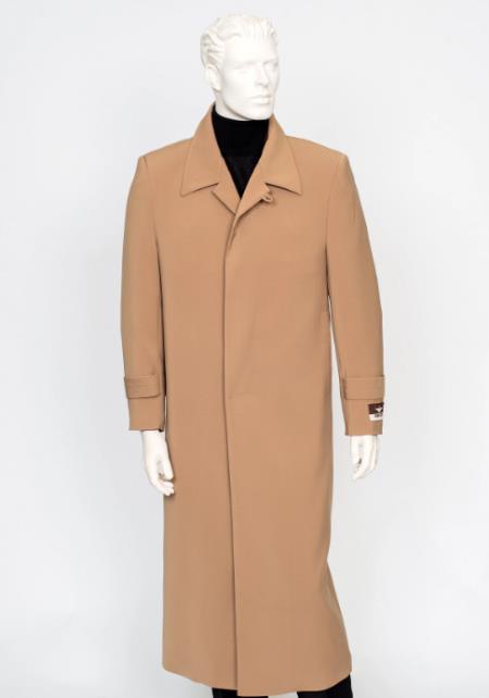 Mens Carmel  4 Buttons Notch Lapel Full Length All Weather Coat Duster Maxi Coat