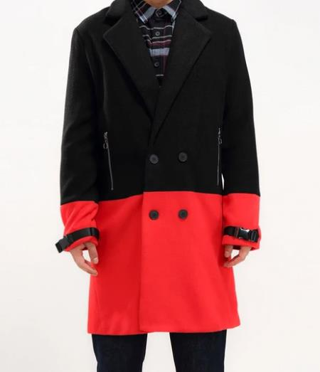 Men's Red Half Way There Double Breasted Suits Peacoat