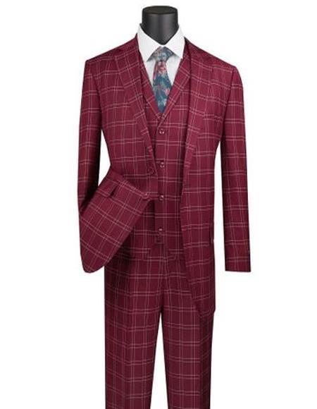 Burgundy Plaid Suit 3 Piece 1920s Lapel Vest Vinci
