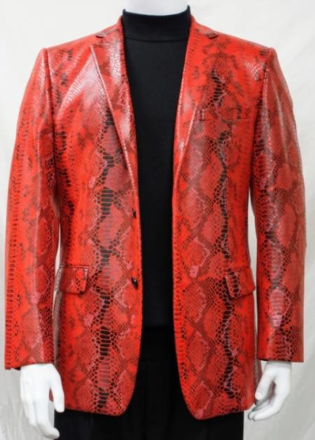 Men's Red Alligator Python Snakeskin Print Snake Jacket