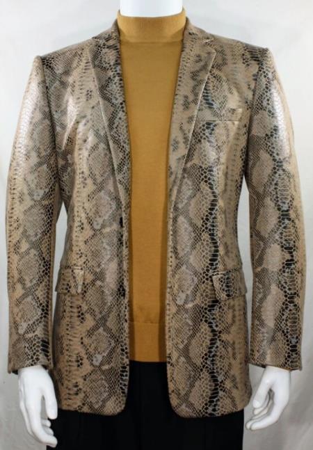 Mens Cream Alligator Python Snakeskin Print Snake Jacket