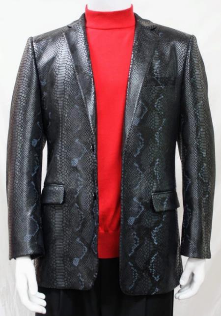 Men's Black Alligator Python Snakeskin Print Snake Sport Coat