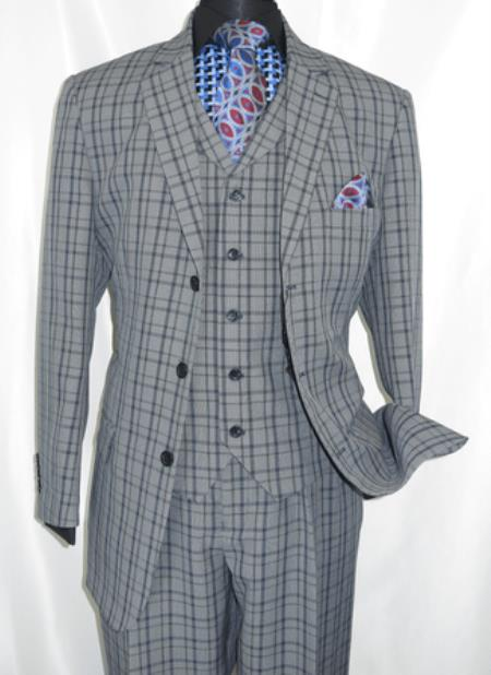 3 Button 3 Piece Suit Mens Navy Plaid 1920s Fortino 5802V6