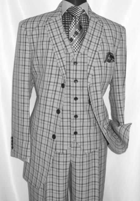 3 Button 3 Piece Checkered Suit Men's Grey Plaid 1920s Fortino 5802V6 - 1920s Men's Fashion