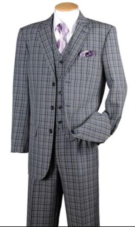 Fortino Men's Navy Plaid 1920s Style 3 Piece Fashion Checkered Suit 5802V6 - 1920s Men's Fashion