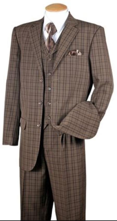 Fortino Mens Brown Plaid 1920s Style 3 Piece Fashion Suit