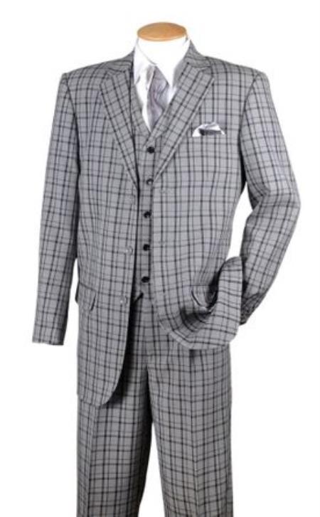 Fortino Mens Black Plaid 1920s Style