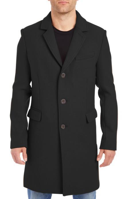 Mens Black Four Button Cuffs Wool Fabric Big and Tall Peacoat