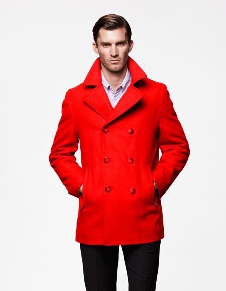 Mens Red Front Slash Pockets Wool Fabric Big and Tall Peacoat