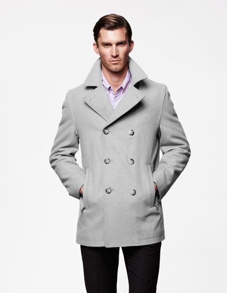 Men's Light Grey Six Button Wool Fabric Big and Tall Men's Peacoat