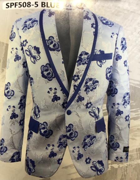 White and Navy blue paisley Blazer - Sport Coat / Tuxedo Dinner Jacket