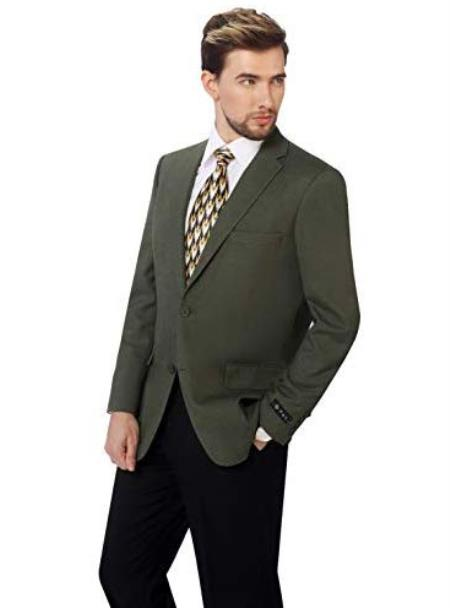 Mens Classic Fit Sport Coat Suit Jacket Blazer Olive