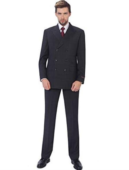 3 Piece Classic Fit Suit Double Breasted Windowpane Plaid Suit Classic Fit, Sharp Cut- 6 on 3 Buttons Unique Style With Pleated Pants