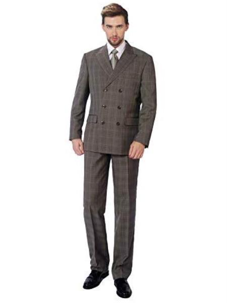 Walnut Double Breasted Suits Sharp Cut 3 Buttons Unique Style Suit