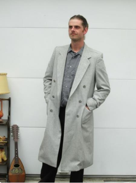 Mens Wool Light Grey Double Breasted Overcoat Topcoat By Alberto Nardoni