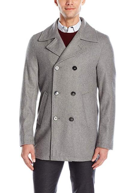 Mens Light Grey Wool Welt Slash Pockets Double Breasted Peacoat
