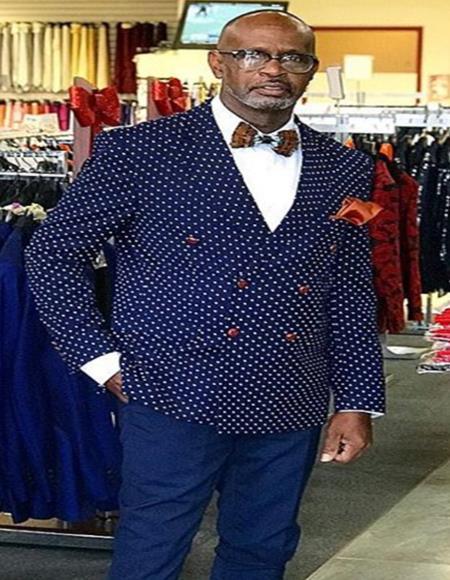 polka dot pattern! Slim Fit Double Breasted Blazer ~ Sport Coat Navy