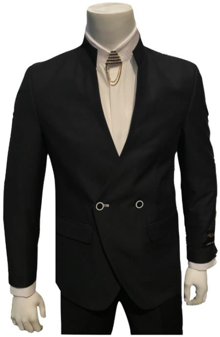 Mens Double Breasted Mandarin Collar Black Suit