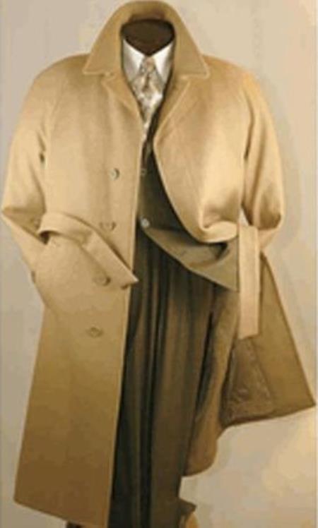 Camel Color Mens Full Length Wool Overcoat Belted Wool Overcoat