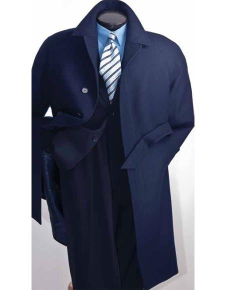 Navy Blue Mens Full Length Wool Overcoat Belted Wool Overcoat