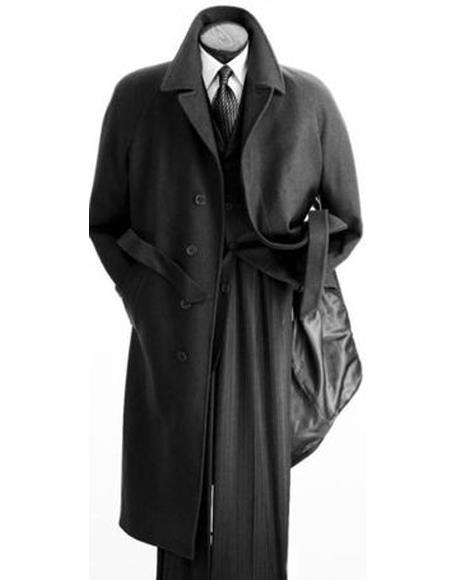 Men's Full Length Wool Overcoat Belted Charcoal Grey Belted Wool Overcoat