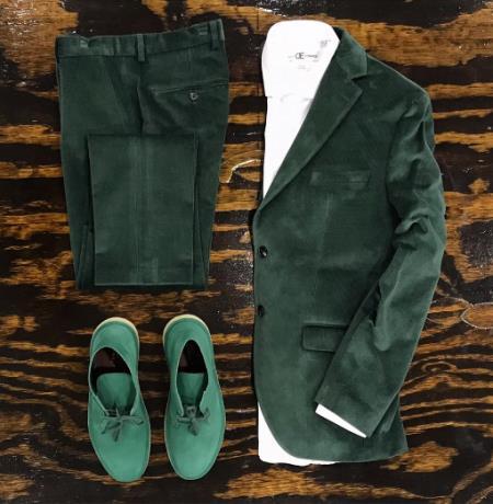 Velvet Tuxedo Dinner Jacket Mens blazer + Scarab Green