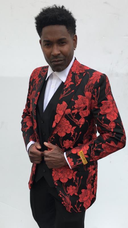 Men's Blazer + Red ~ Black