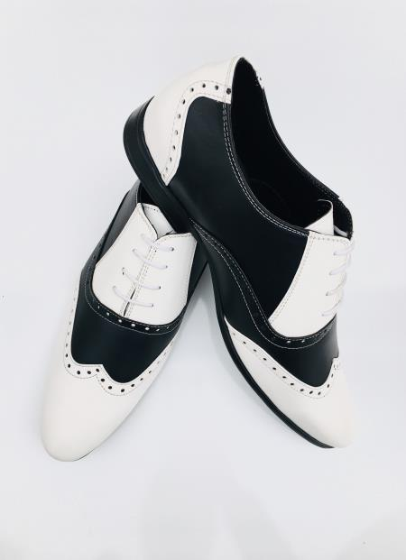 Mens Leather Two Toned Wing Tip Oxford Lace Up Shoe Black