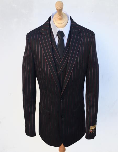 Bold Stripe Gangster Suit Double Breasted Suit Black ~ Red