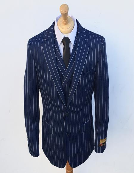Bold Stripe Gangster Suit Double Breasted Suit Blue