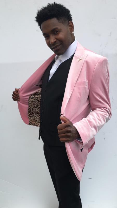 Men's Wedding / Prom Slim Fit Blazer Pink Velvet Sport Coat
