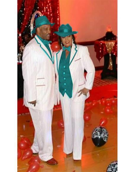 Mens Single Breasted Notch Lapel High Fashion Zoot Suit - Pimp Suit - Zuit Suit or Tuxedo With Trimmed Lapel  White ~ Turquoise