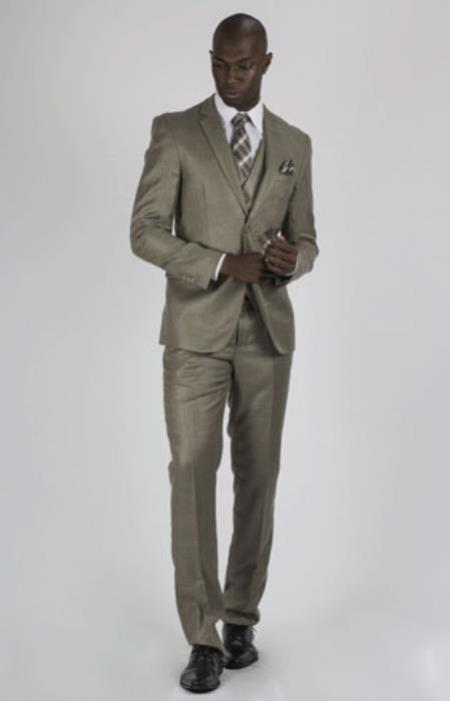 Beige 3 piece 2 Button Graduation Suit For Boy / Guys