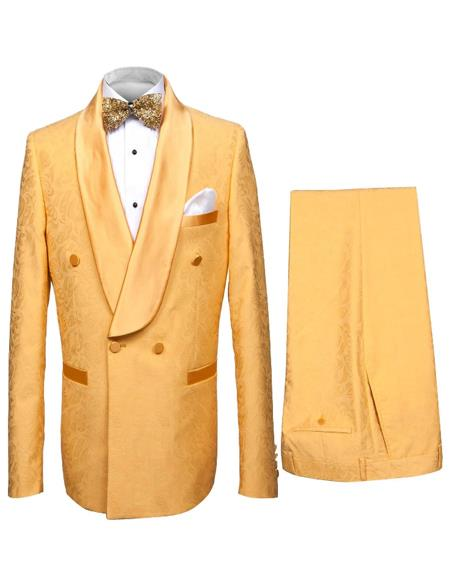 Shawl Collar Double Dreasted Suit or Tuxedo in Gold Mustard Color With Pants Paisley Pattern