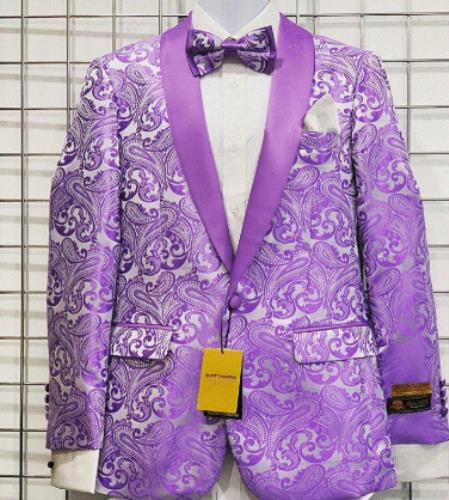 Men's Lavender Paisley Fashion Tuxedo For Men Jacket Blazer
