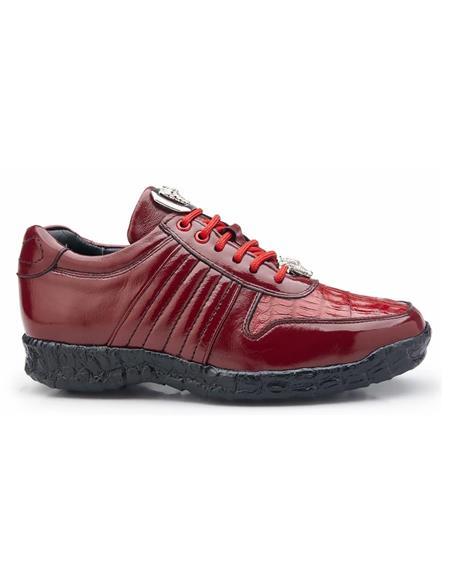 Mens Red Authentic Genuine Skin Italian Dress Sneaker For Sale