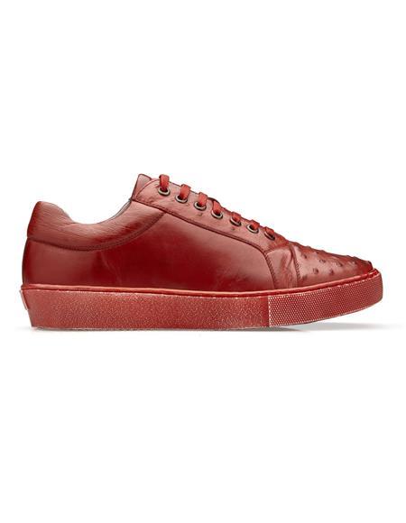 Authentic Genuine Skin Italian Dress Sneaker in Antique Red