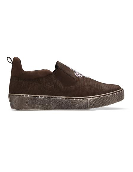 Authentic Genuine Skin Italian Dress Sneaker in Brown