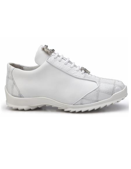 Authentic Genuine Skin Italian Dress Sneaker in White