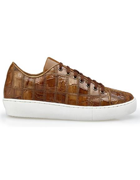 Authentic Genuine Skin Italian Dress Sneaker in Honey